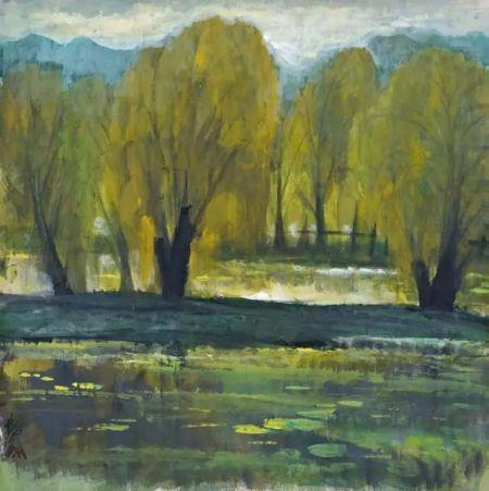 《秋景》是林风眠秋日风景系列中的精品.