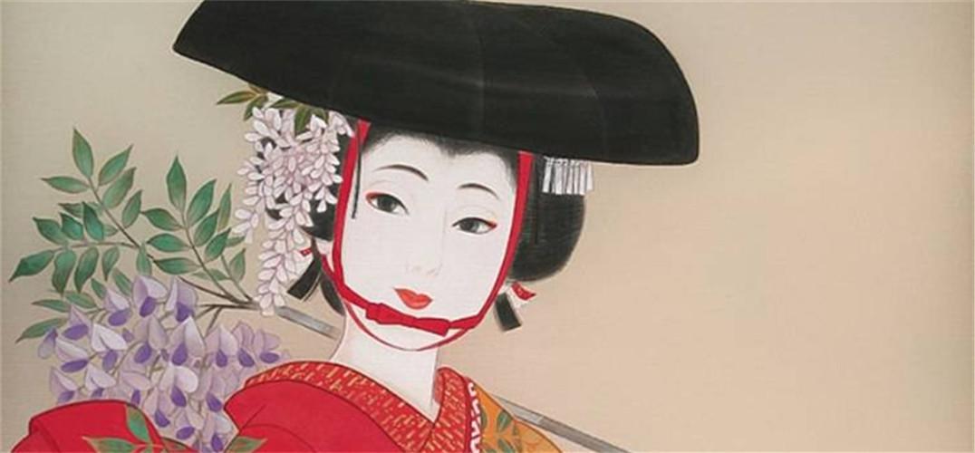 日本手绘和服黑白