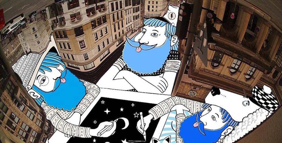 """据英国《每日邮报》报道,法国摄影师、插图画家托马斯·拉马迪奥喜欢抓拍城市建筑照片,他为此还想出一种利用这些照片创造新式艺术的方式,即以天空为画布创作插图画。 拉马迪奥在庭院或建筑之间的空地上拍摄空中照片,创造出建筑物的框架,然后将诙谐有趣的插图植入其中,就创造出其所谓的""""天空艺术""""。拉马迪奥在其网站上称:""""我的艺术创作目的旨在展现和感知不同的城市建筑以及我们周围的日常环境,我们可以通过无尽的想象力构建它们。"""" 拉马迪奥的这门艺术又被称为Root"""