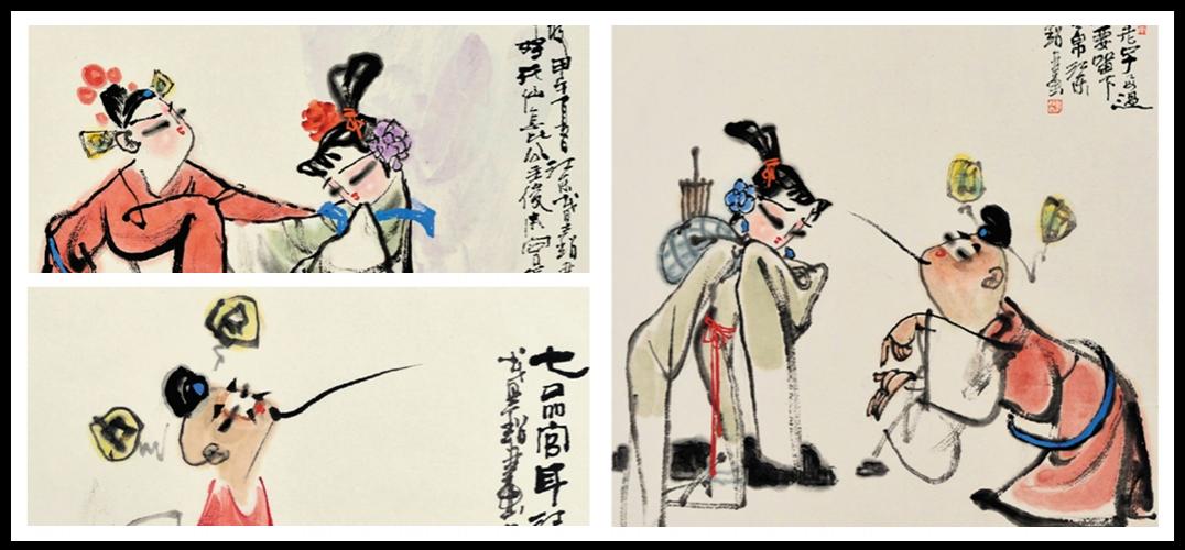 总之,戴超的戏曲人物画有生动的造型,丰富的内涵,精湛的笔墨,倘若