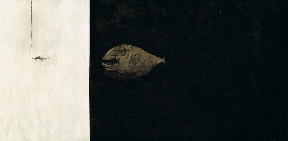 杨志麟《人是鱼的进化一一人喜食鱼》(油画)