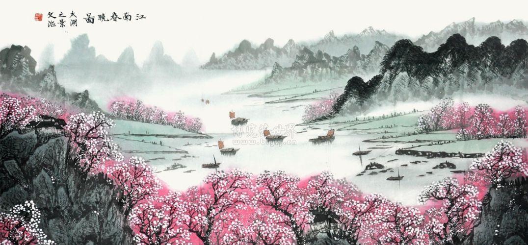 两幅画面上最凸显的是盛开的桃花,还有在桃花掩隐中的江南小屋,远处渔图片