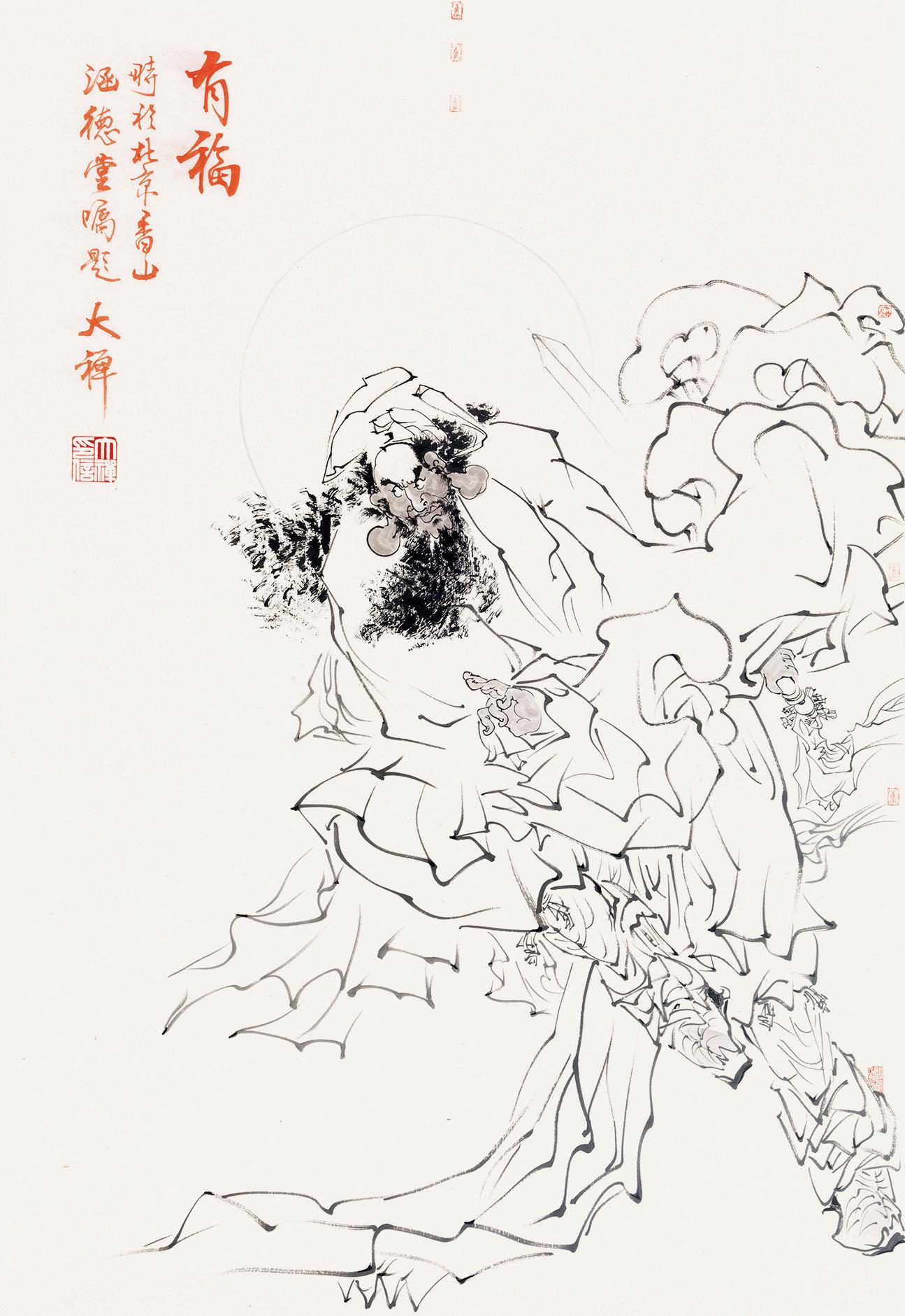 """《春夏秋冬》,大禅法师,2010年作,设色纸本,180×50cm×4 策展人贾方舟先生对大禅法师的作品理解独到,且推崇备至。他认为:禅师的艺术,""""诗书画印""""浑然一体,自然天成。文人笔墨与传统精神在他那里延续得顺畅而自然。究其原因,不外他作为禅师的生存方式和普心觉性的文化状态。 著名评论家刘骁纯先生称赞大禅法师画中内藏禅意,主要还不是说的象征和隐喻,而是说的另外两点:一个方面,笔墨简率超逸而出尘,另一个方面则在画面意境。前一方面水墨画更突出些,后一方面彩墨画"""