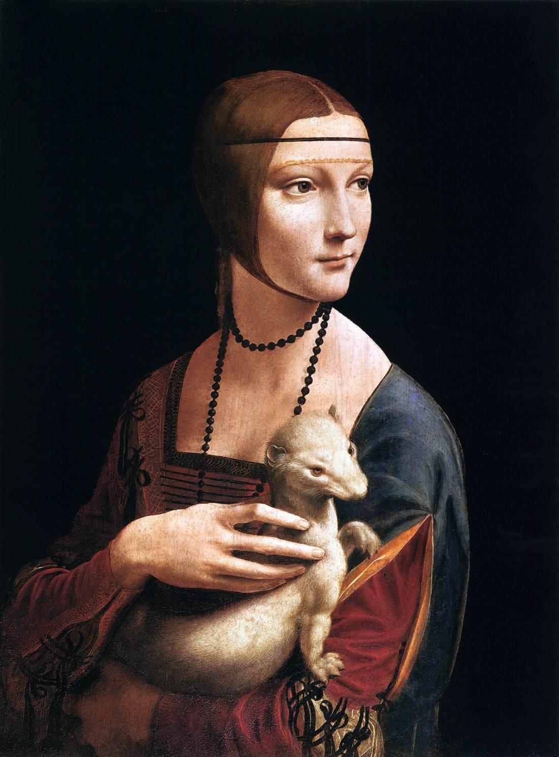 抱貂女郎 意大利 达芬奇 板上油画 纵54.8×横40.3厘米 克拉科查托斯基美术馆藏