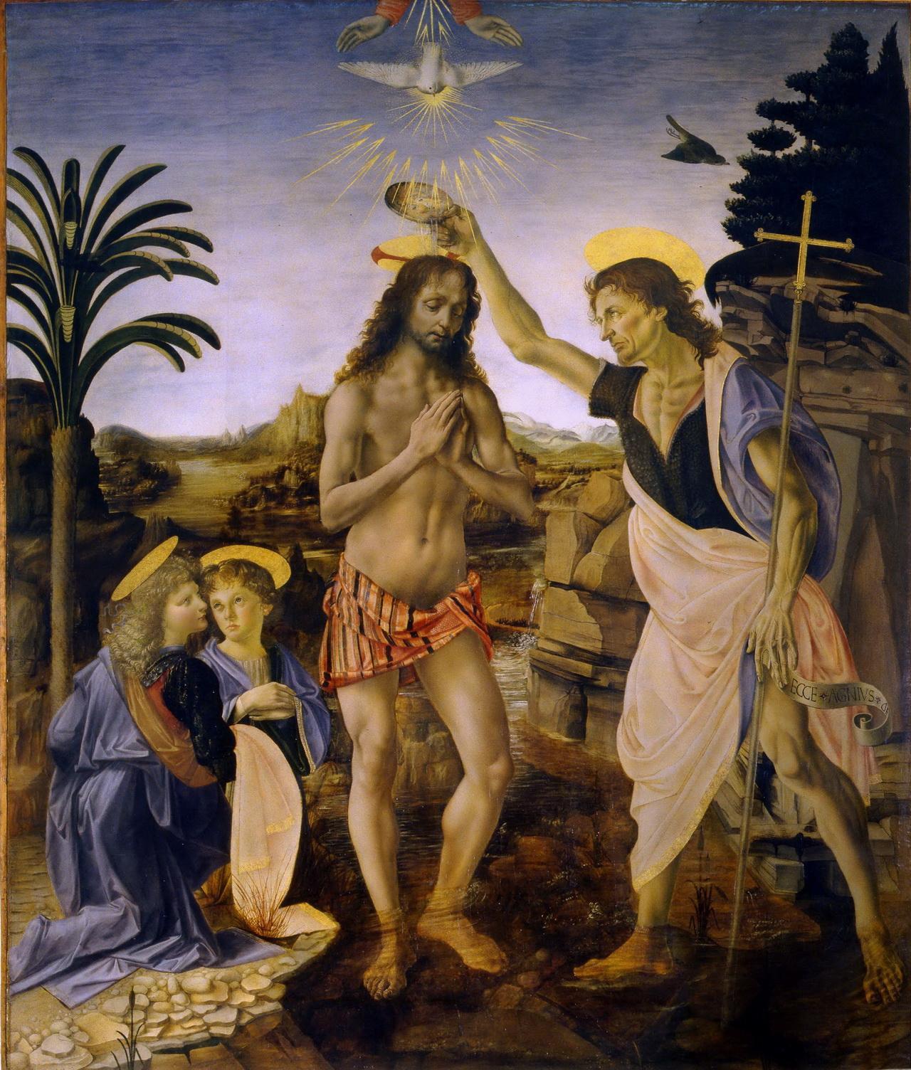 基督受洗 意大利 达芬奇 湿壁画 176.9×151.2厘米 意大利,佛罗伦斯,乌菲兹美术馆藏