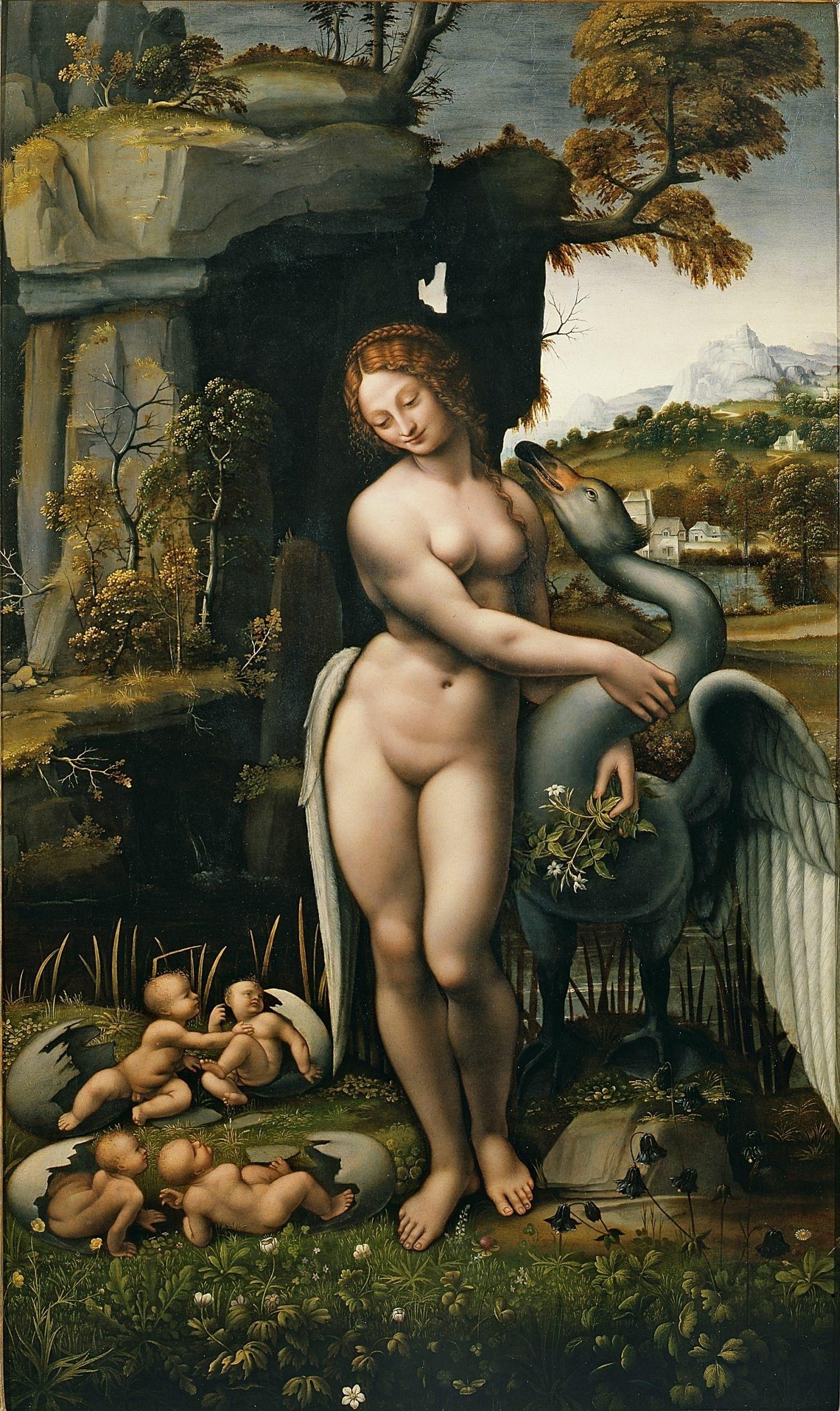 丽达与鹅 意大利 达芬奇 板上油画 纵112×横86厘米 佛罗伦萨乌菲齐美术馆藏