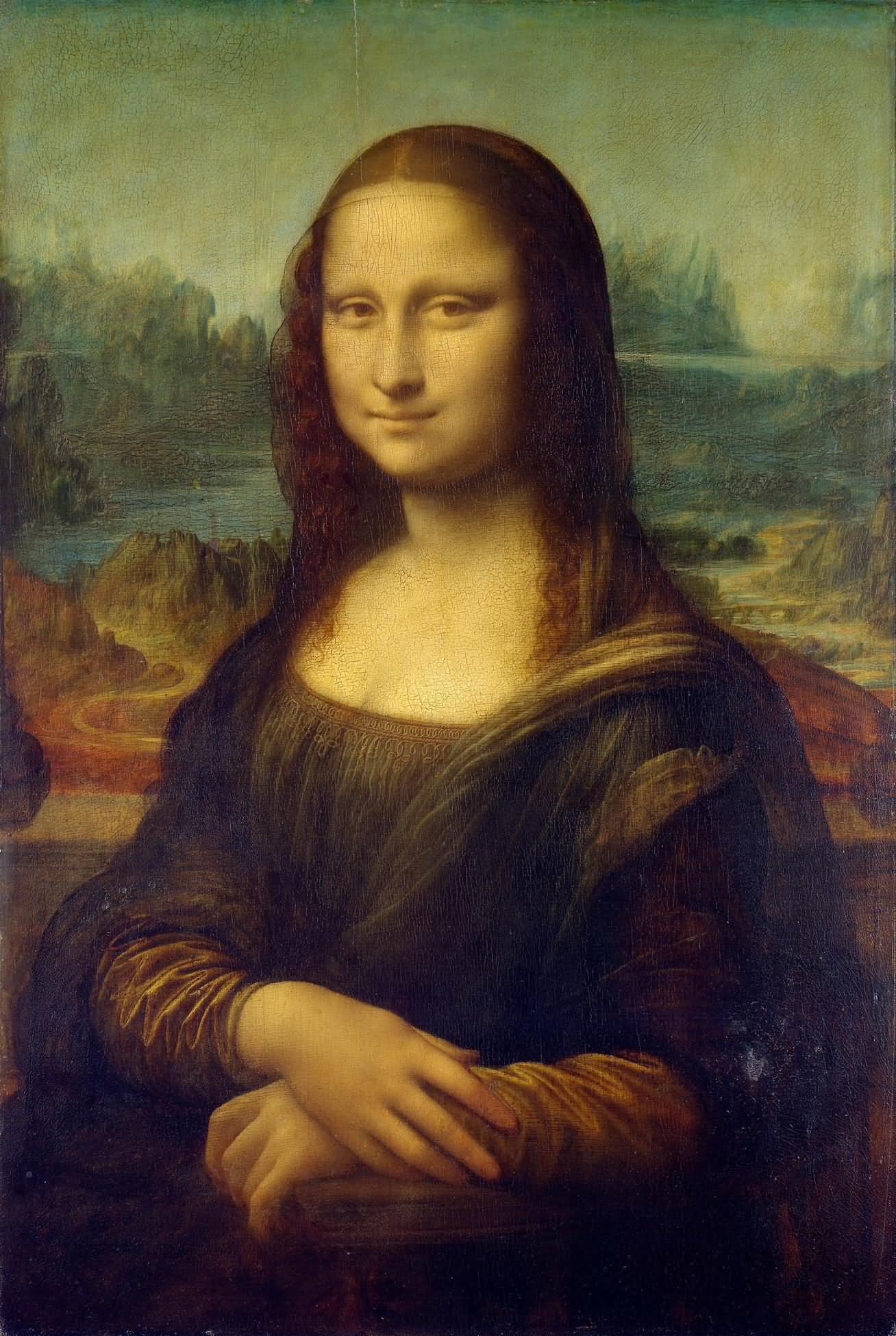 蒙娜丽莎 意大利 达芬奇 板上油彩 纵77×横53厘米 巴黎卢浮宫藏