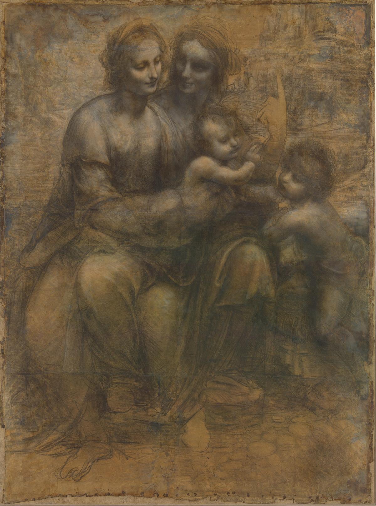 圣母子与圣安妮、施洗者圣约翰 达芬奇 英国国家美术馆藏