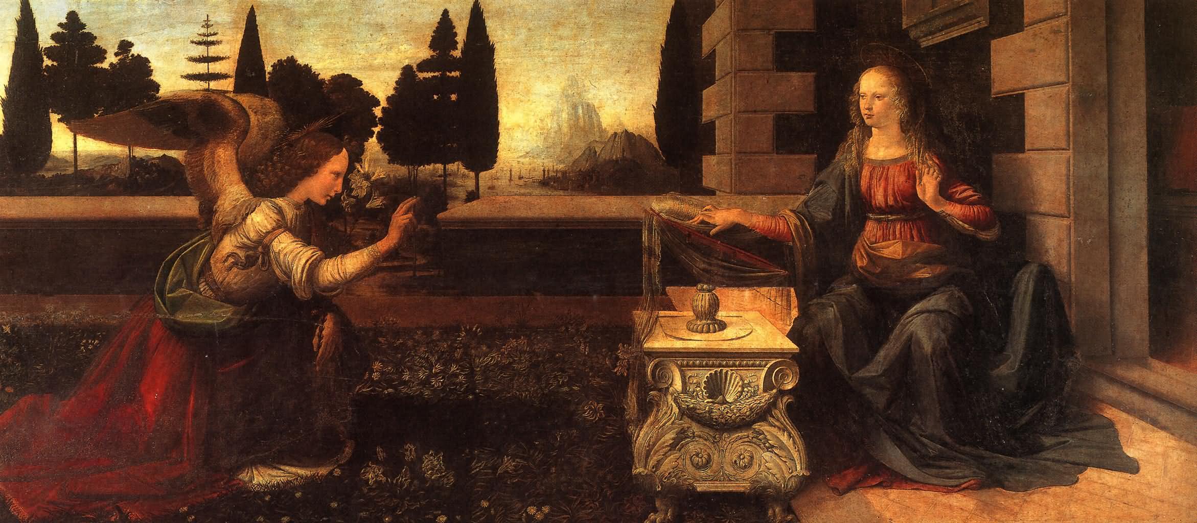 受胎告知 意大利 达芬奇 意大利,佛罗伦斯,乌菲兹美术馆藏