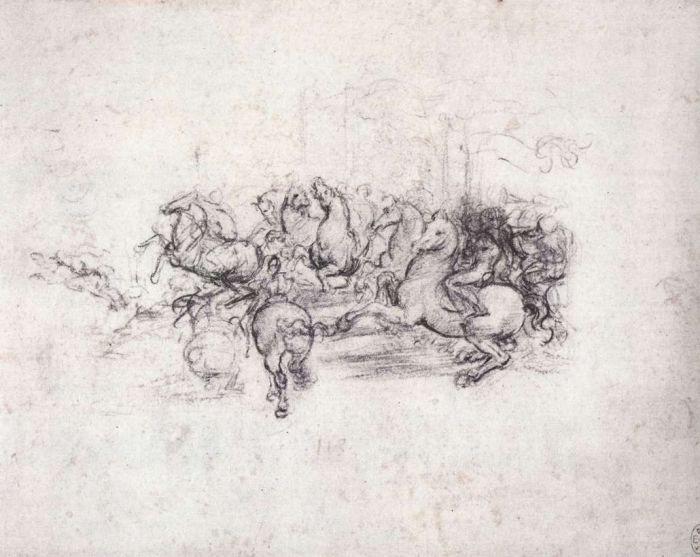 安吉里之战骑兵营草图 达芬奇