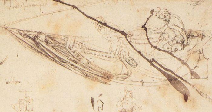船的设计素描 达芬奇