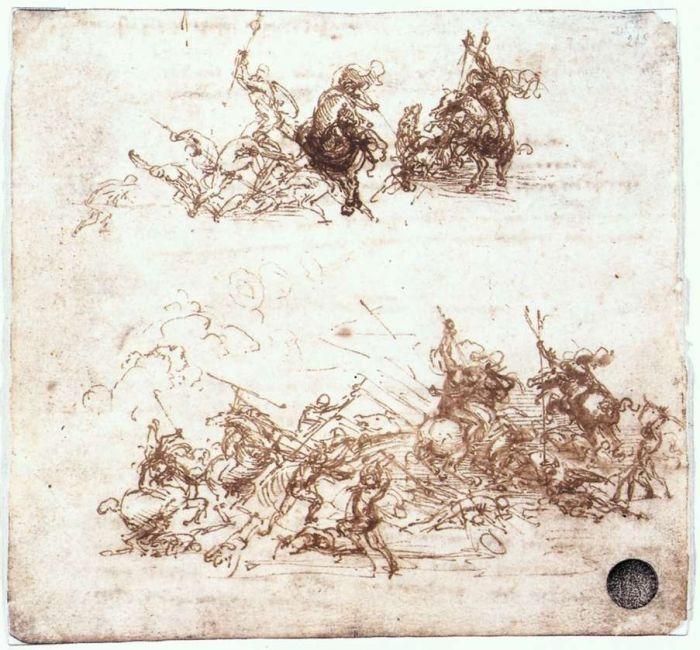 达芬奇笔记中骑兵和步兵的战斗草图 达芬奇