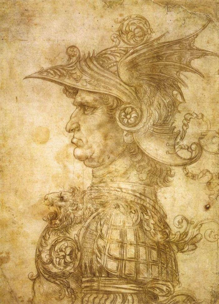 达芬奇戴头盔的战士