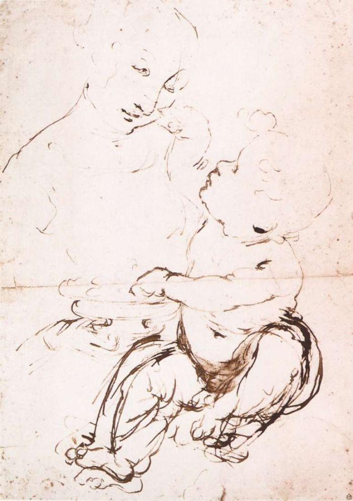 达芬奇圣母子和水果素描