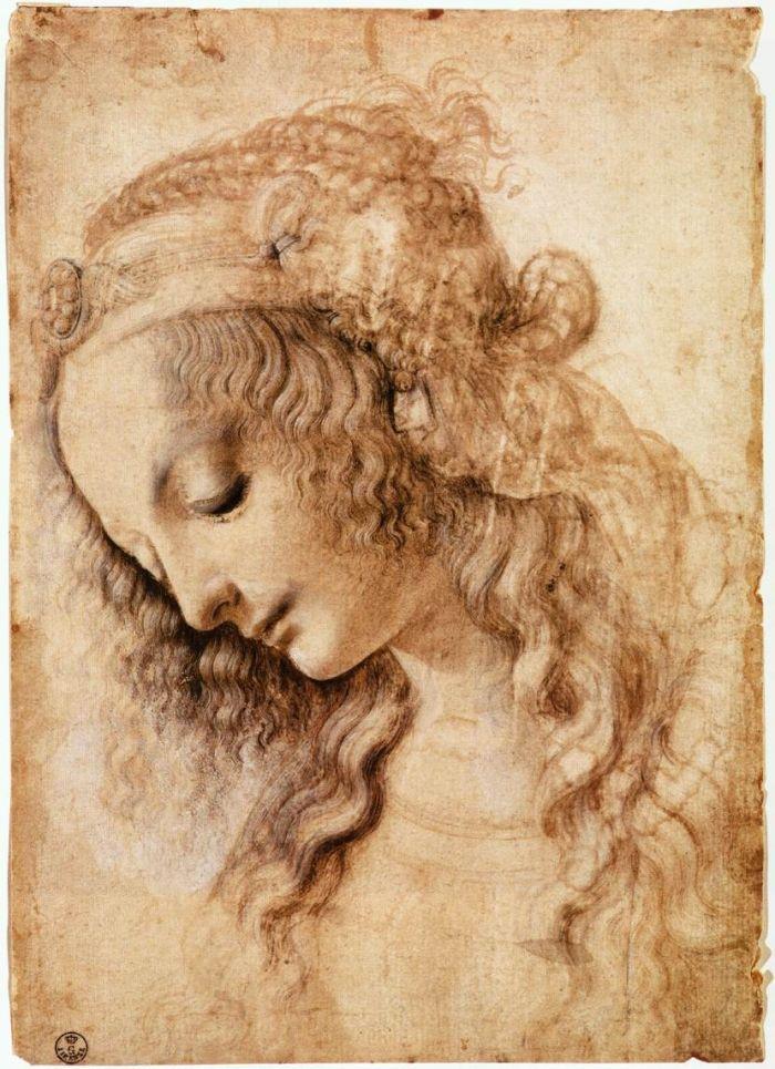 达芬奇女子头像素描
