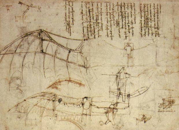 飞行机械设计草图 达芬奇