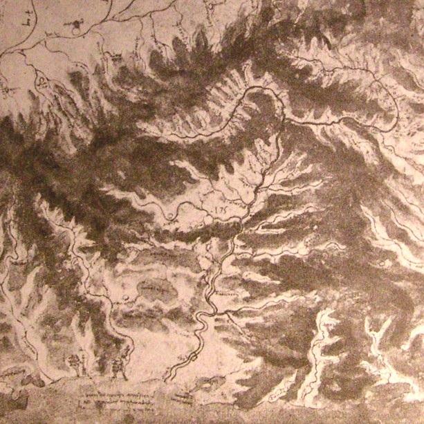 河谷地形图 达芬奇