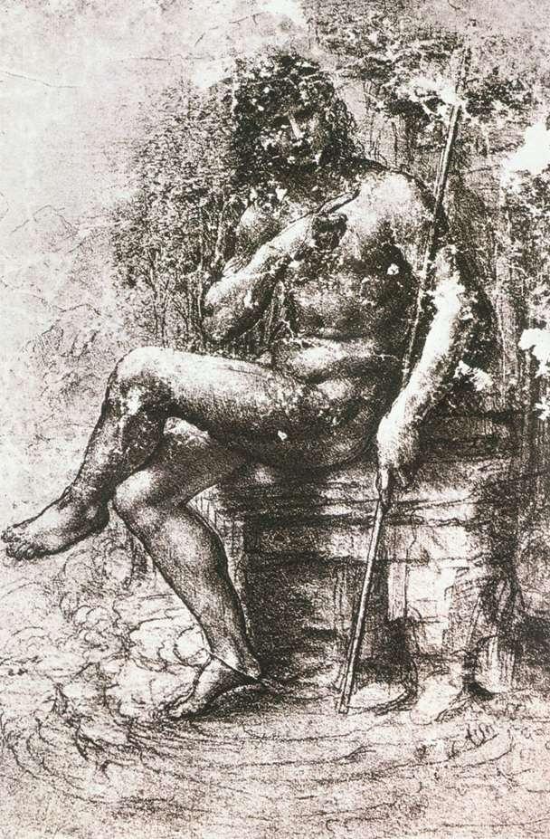 荒野中的圣约翰草图 达芬奇