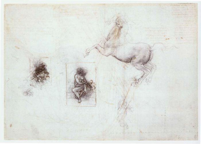 丽达和马草图 达芬奇