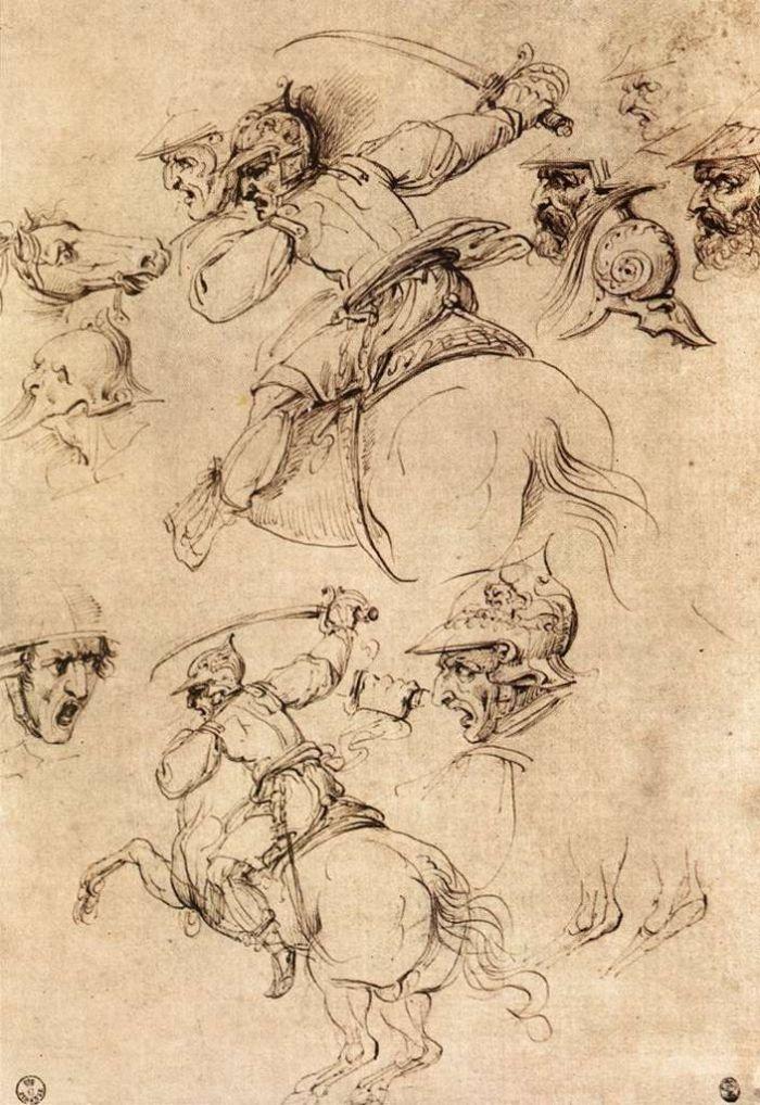 马背上的战斗草图 达芬奇