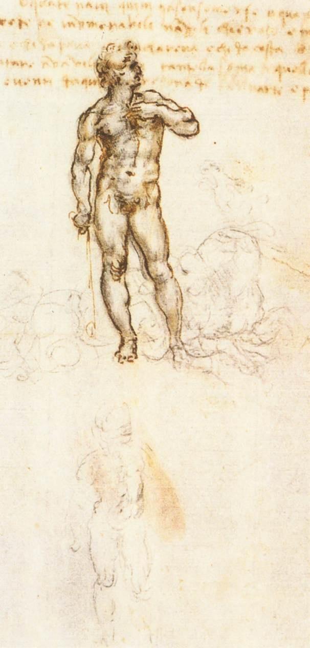 米开朗基罗的大卫草图 达芬奇