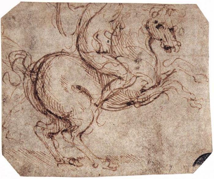 骑兵草图 达芬奇