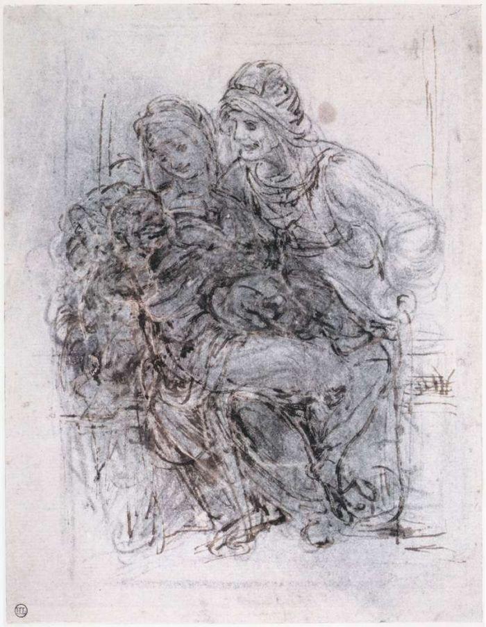 圣母子和圣安妮草图 达芬奇