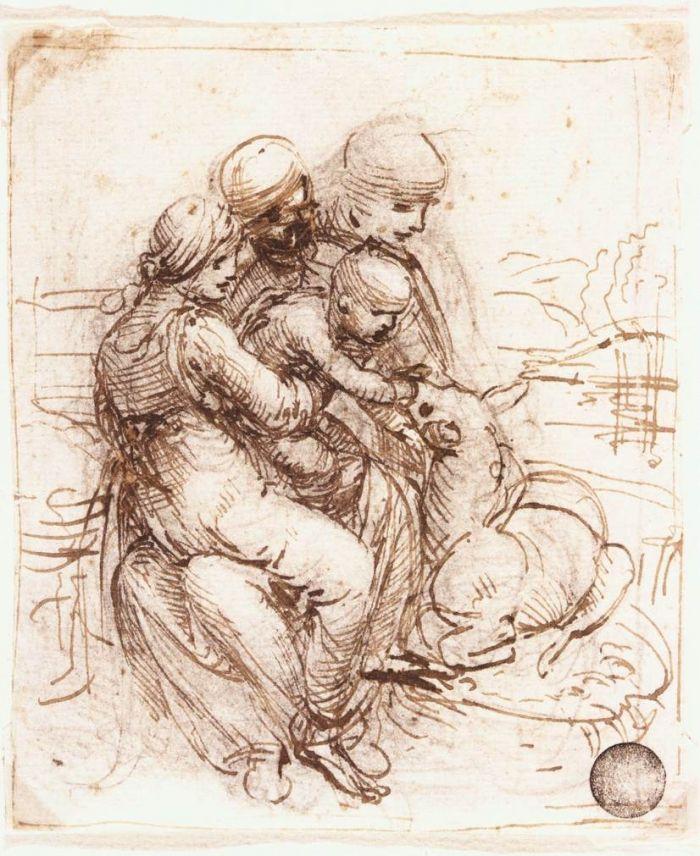 圣母子、圣安妮和年轻的圣约翰草图 达芬奇