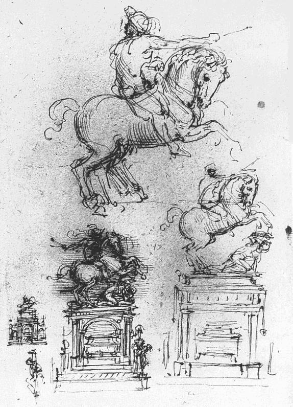 特里武尔齐奥马术纪念碑草图 达芬奇