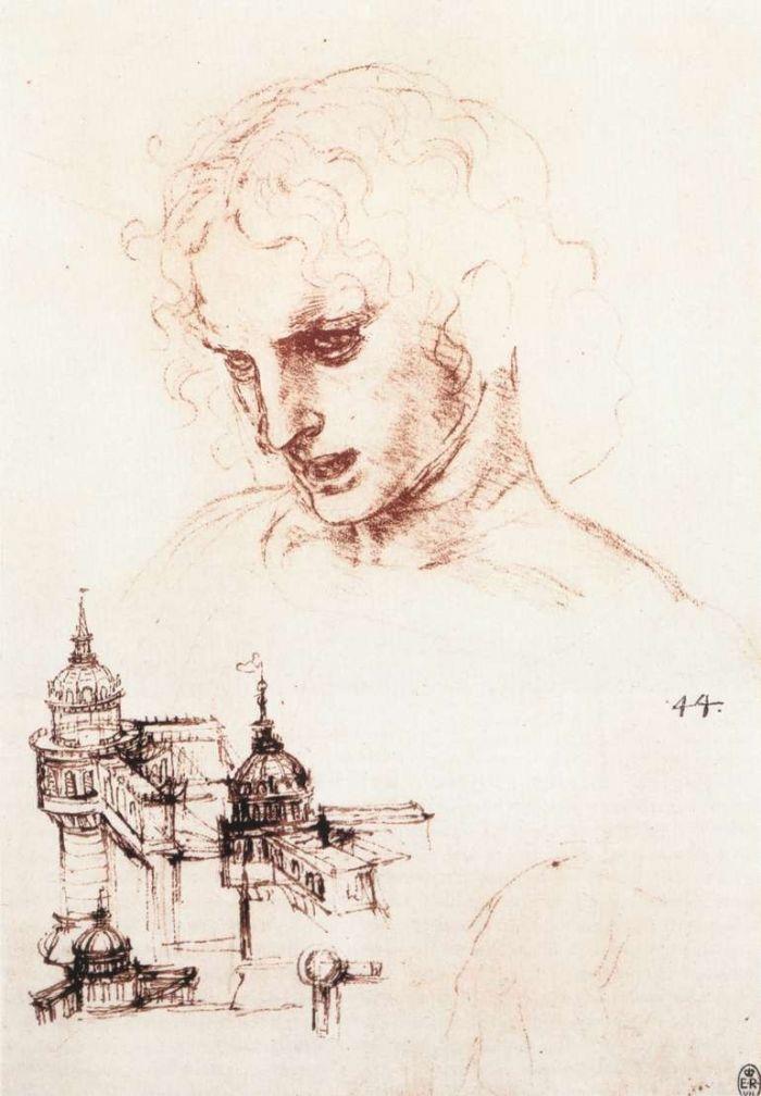 使徒的头像和建筑物草图素描 达芬奇