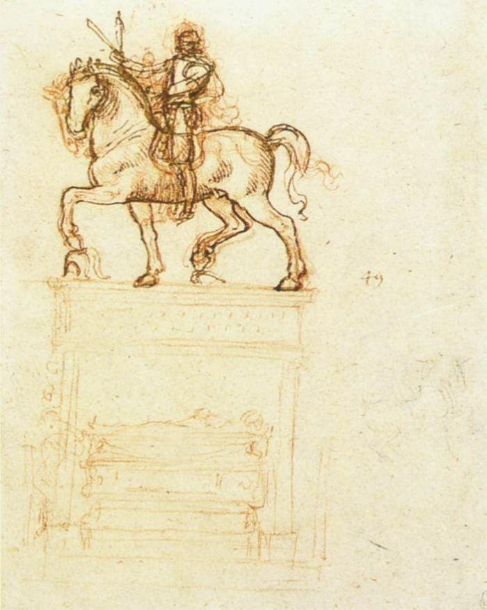 特里武尔齐奥马术纪念碑草图 达芬奇2