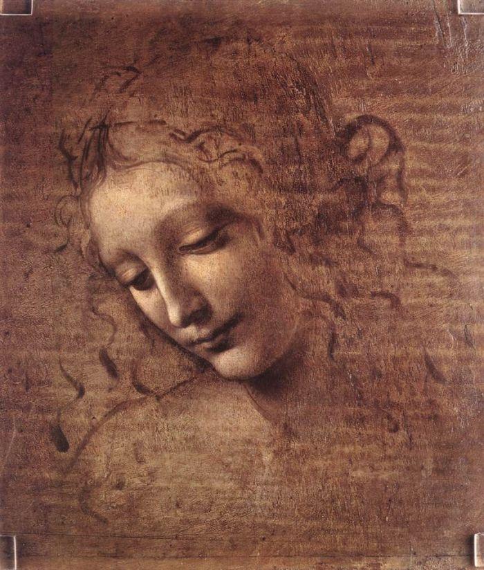 头发卷曲着的年轻女子头像(丽达) 达芬奇