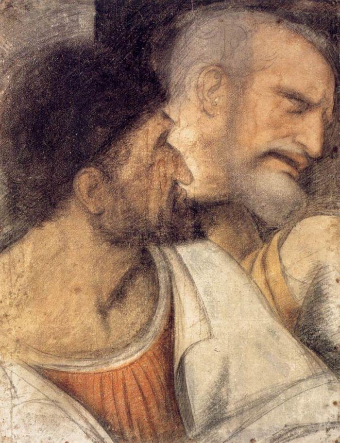 犹大和彼得头像 达芬奇