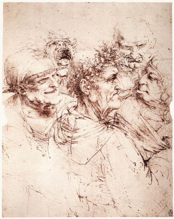 五个怪诞的男子头像 达芬奇