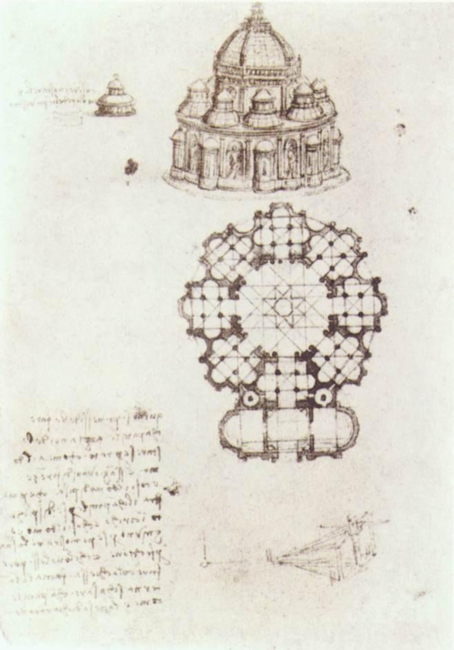 中心教堂草图素描 达芬奇