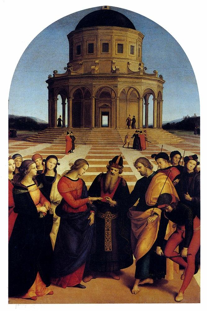 圣母的婚礼 意大利 拉斐尔 《圣母的婚礼》,构图样式、环境和人物配置皆模仿老师的佩鲁基诺画的《基督将天门的钥匙交给彼得》,人物造型除带有老师娴静优雅的风格特征外,开始显露自己独特的柔美风格。画面取对称式布局,背景是顶天立地的多边形洗礼堂充满天堂;大量使用水平线、垂直线和半圆形曲线,造成刚中有柔、简洁明快、整体变化和谐的美感。 拉斐尔巧妙地运用透视使空间深远。画面前景仍以对称式布满人物,视觉中心是代表神的意志的主教主持仪式,约瑟将订婚戒指戴在玛利亚的手上,左右两边分别两组男女青年。玛利亚后面的一组女子是她