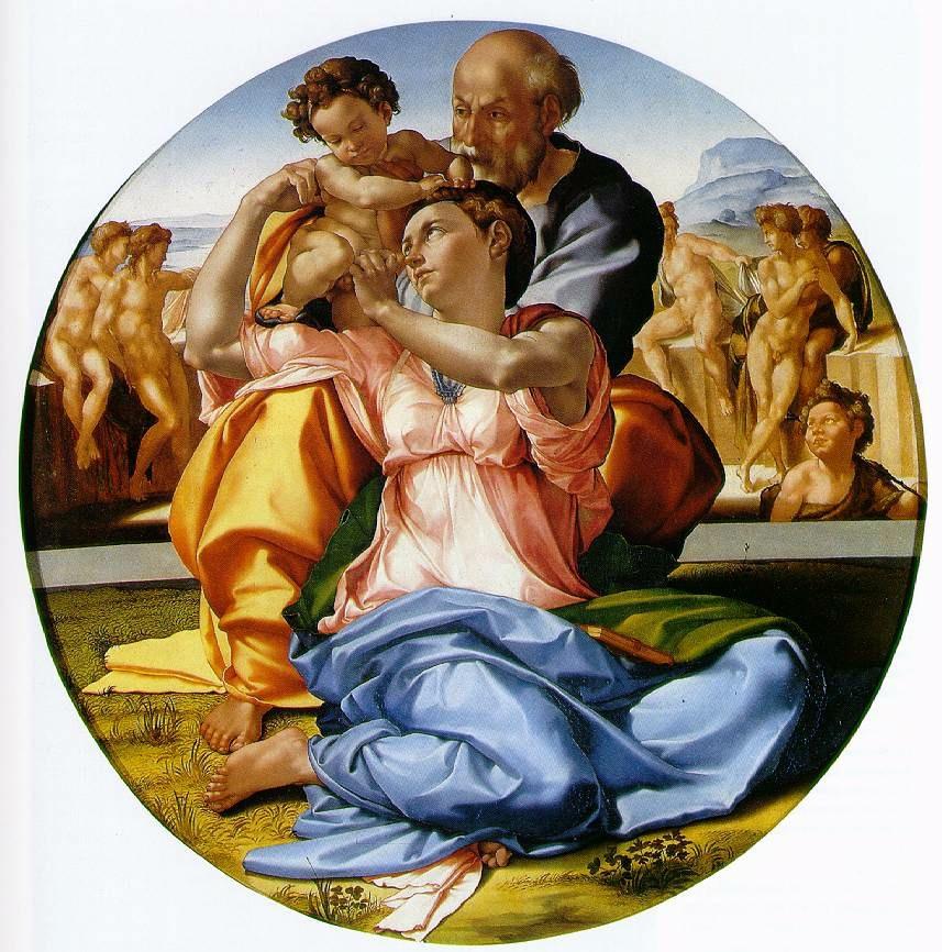 杜利圣家族 意大利 米开朗基罗 板上蛋彩 直径120厘米 佛罗伦萨乌菲齐美术馆藏