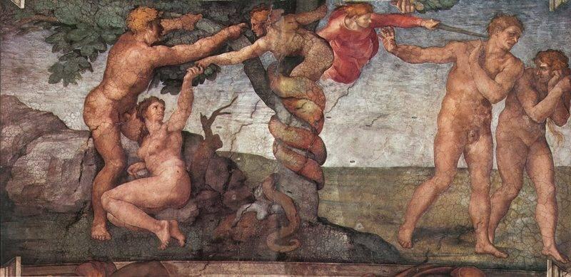 逐出伊甸园 意大利 米开朗基罗 壁画 纵280×横570厘米 梵蒂冈西斯廷教堂