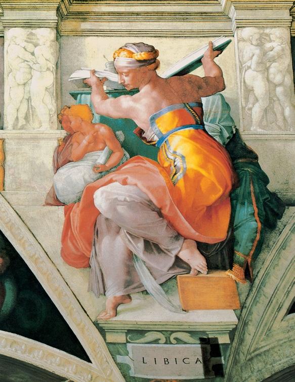 女预言家利比亚 意大利 米开朗基罗 壁画 纵395×横380厘米 梵蒂冈西斯廷教堂