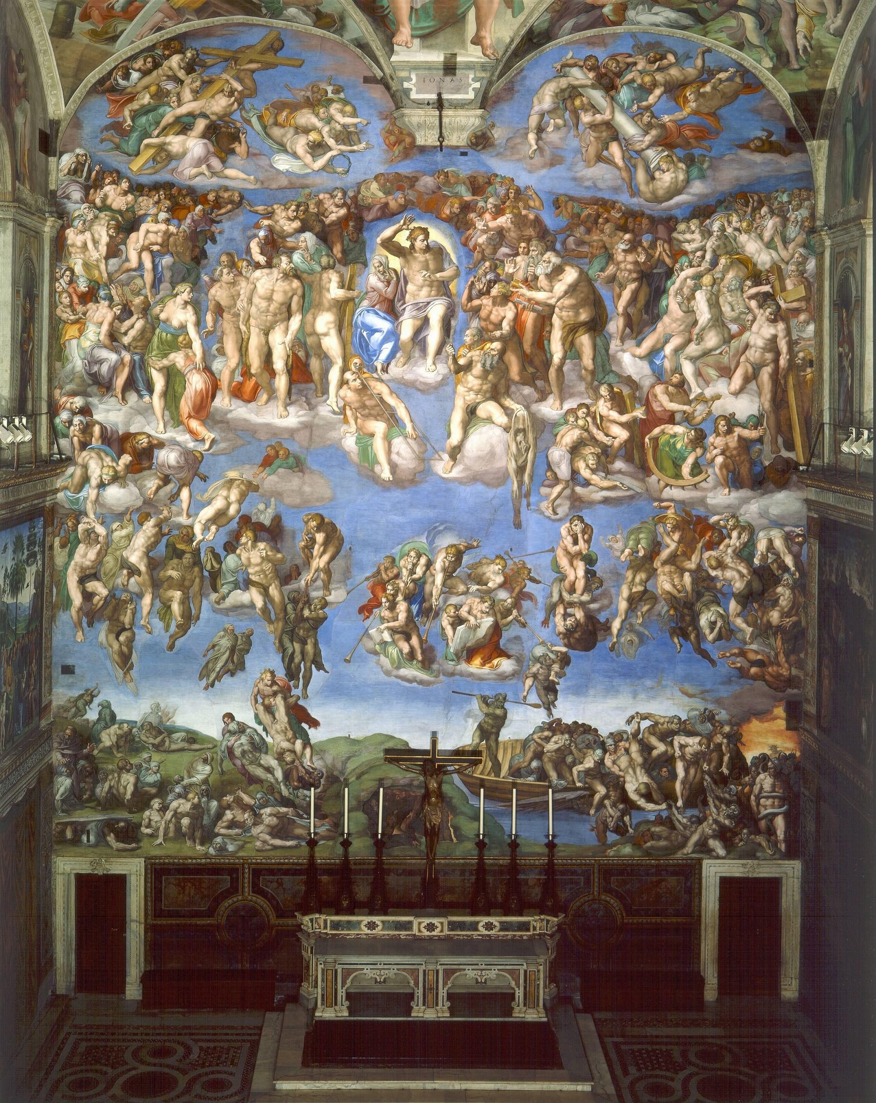 最后的审判 意大利 米开朗基罗 壁画 纵1370×横1220厘米 梵蒂冈西斯廷小教堂