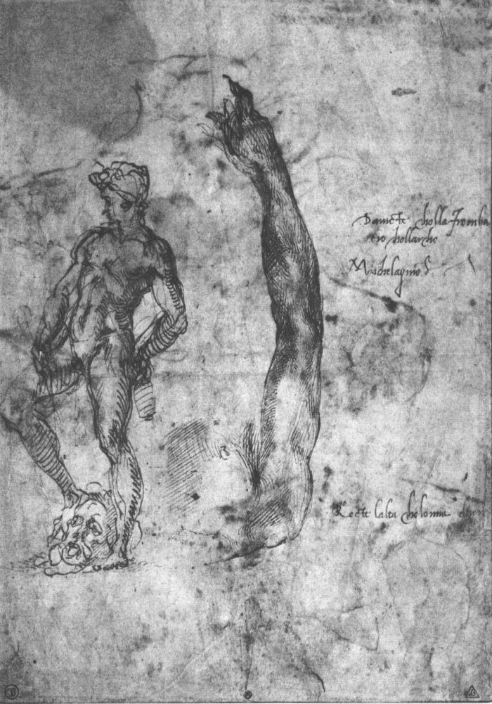 大理石大卫的手臂和青铜大卫的身影草图 米开朗基罗