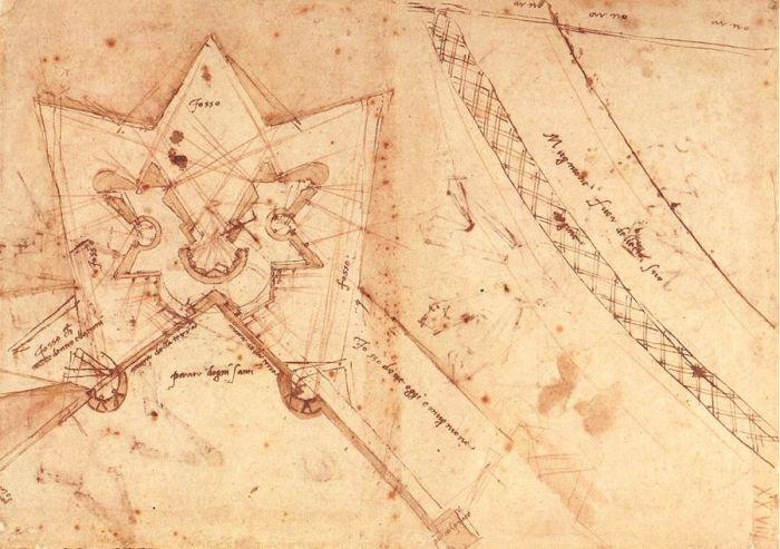 佛罗伦萨德尔普拉托区的防御工事草图(地面平面图) 米开朗基罗