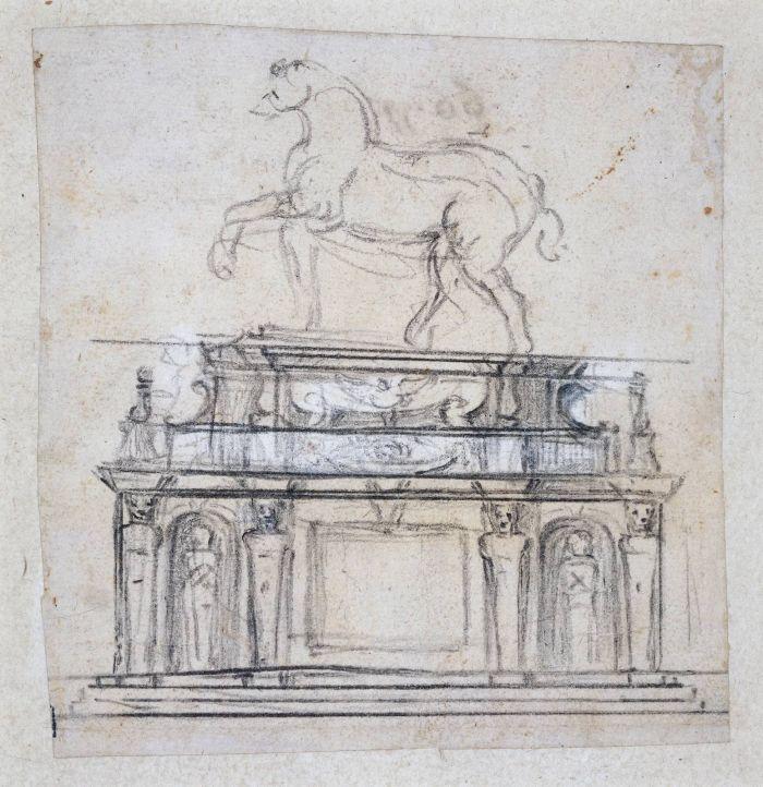 法国亨利二世陵墓雕像的设计草图 米开朗基罗