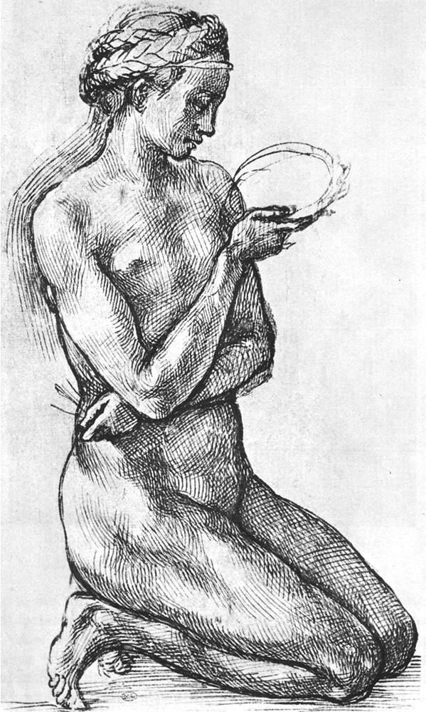 跪着的裸体女子 米开朗基罗