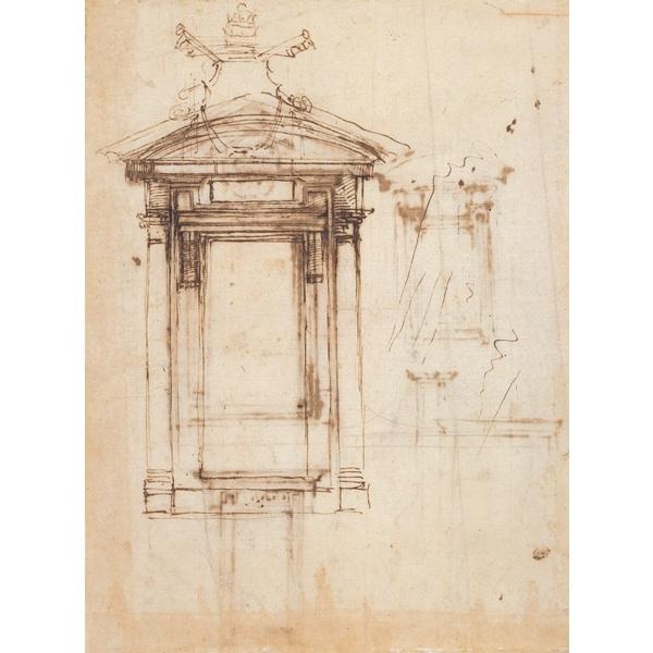 劳伦图书馆门和外窗的设计草图 米开朗基罗