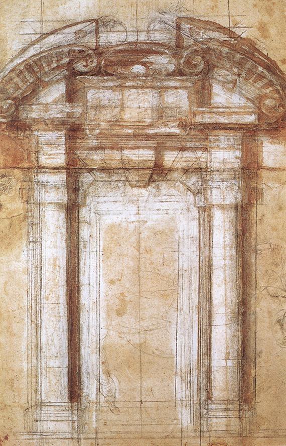 罗马奥勒良城墙门设计草图 米开朗基罗