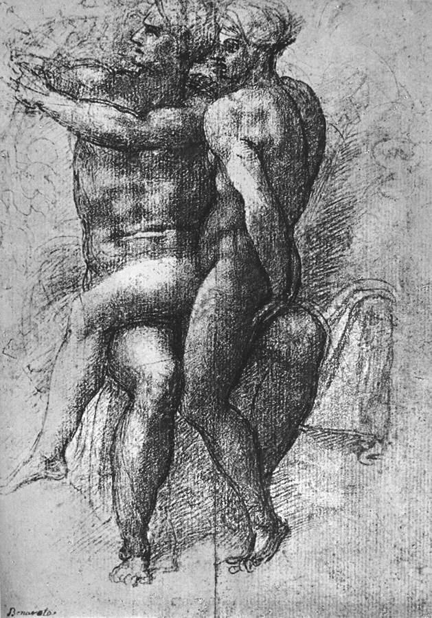 裸体女子坐在裸体男子的大腿上:亚当和夏娃 米开朗基罗