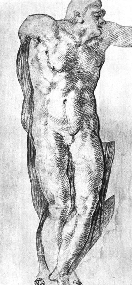 裸体男子草图 米开朗基罗