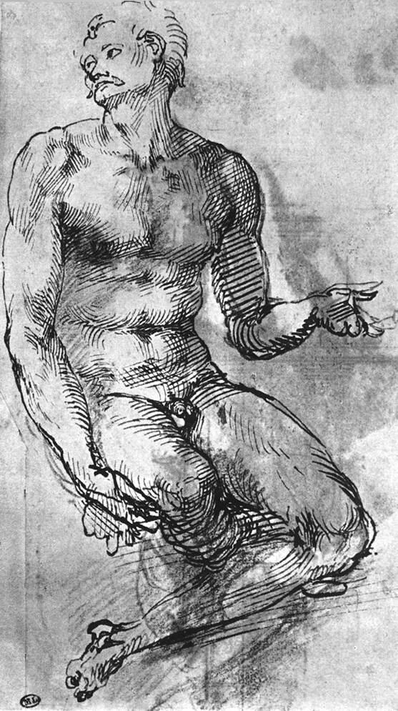 裸体男子草图 米开朗基罗2