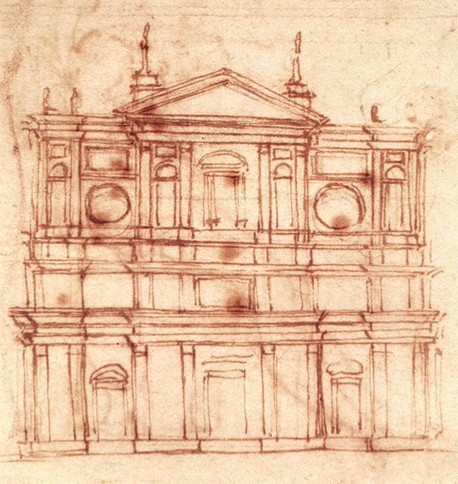 圣洛伦索教堂外墙设计草图 米开朗基罗